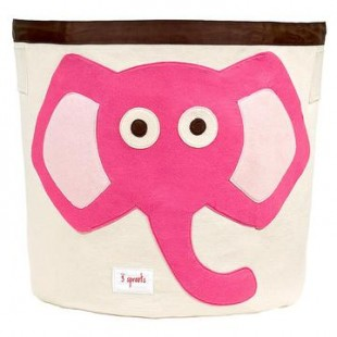 3 Sprouts Storage Bin-Pink Elephant
