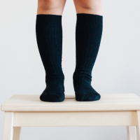 Lamington Merino Wool Knee High Rib Socks | Black