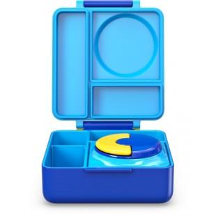 Omiebox 宝宝儿童便携防漏分格装汤粥不锈钢保温便当午餐饭盒 - 天蓝色