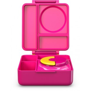 Omiebox 宝宝儿童便携防漏分格装汤粥不锈钢保温便当午餐饭盒 - 粉色