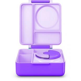 Omiebox 宝宝儿童便携防漏分格装汤粥不锈钢保温便当午餐饭盒 - 紫色