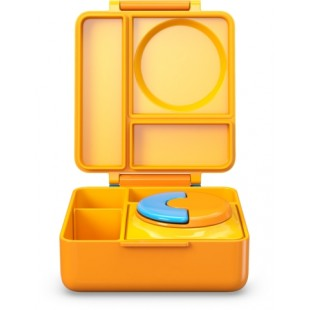 Omiebox 宝宝儿童便携防漏分格装汤粥不锈钢保温便当午餐饭盒 - 黄色