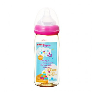 Pigeon PPSU Plastic Baby Nursing Bottle with M Teat 240ml - Pink